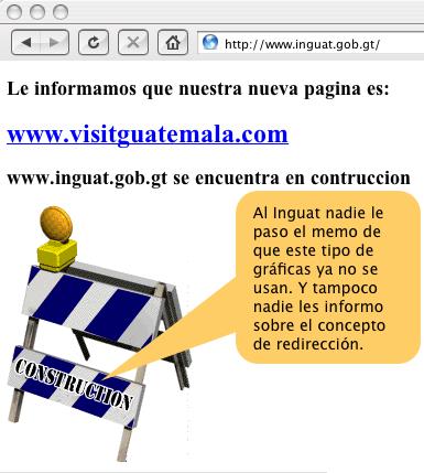 Esta es la página de bienvenida del Instituto Guatemalateco de Turismo