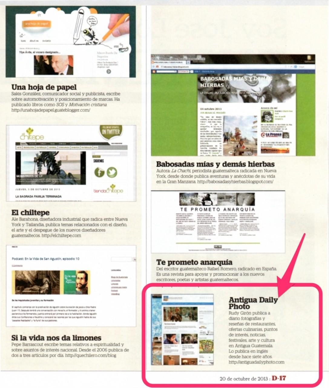 AntiguaDailyPhoto entre los 10 mejores de Guatemala según Revista D de Prensa Libre