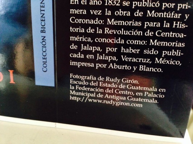 Portada del libro «Memorias para la Historia de la Revolución Centroamericana, Memorias de Jalapa»  por Rudy Girón