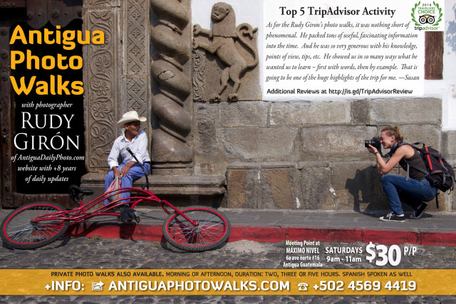 Sign Up today to attend a Public Antigua Photo Walk with with photographer Rudy Giron on Saturday Mornings