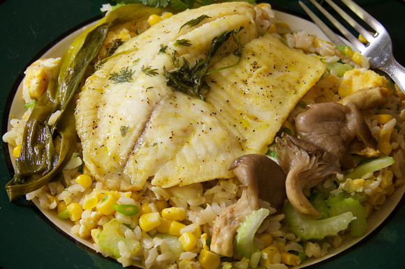Rudy Giron: Food Photography &emdash; Baked Fish Fillet over Fried Rice © Rudy Giron
