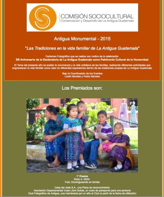 1er lugar en Concurso fotográfico Antigua Monumental 2015