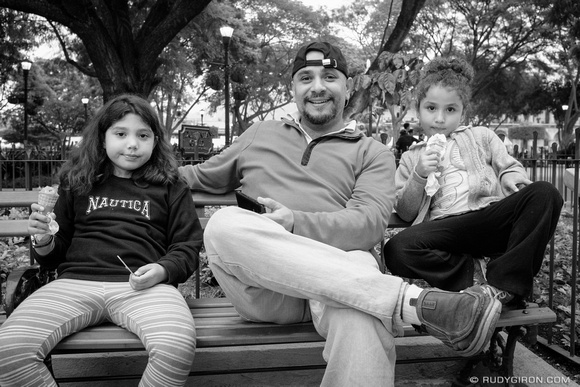 Rudy Giron: Antigua Guatemala &emdash; Street Photography — Father and Daughters Bonding at Parque Central